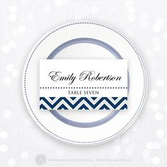Printable Place Card Wedding Navy Chevron Instant Download Editable DIY Template PDF 3.5 x 2 PlaceCard, Escort Cards, Tent Cards, Name Tags