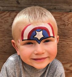 Captain America Patriotic Design- Fourth of July face painting for kids. Superhero Face Painting, Girl Face Painting, Belly Painting, Face Painting Designs, Face Paintings, Zombie Halloween Makeup, Zombie Makeup, Captain America Face Paint, Homemade Face Paints