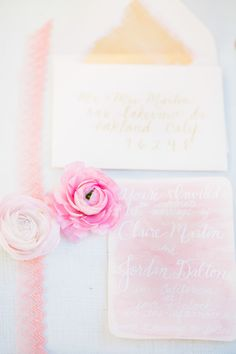 Watercolor Invitations by SteeleMyHeart.com On #SMP here: http://www.StyleMePretty.com/2014/04/07/cheerful-spring-inspiration-shoot/ Photography: Avec L'amour AveClamourPhotography.com
