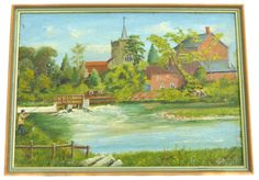 Fishing at Sopley Mill Hampshire by Edgar Cattle of Highcliffe Vintage Art OOAK Painting Vintage Oil Painting Vintage Landscape Painting by BiminiCricket on Etsy Vintage Home Decor, Vintage Art, River Painting, Vintage Landscape, Angler Fish, Hampshire, Cattle, Landscape Paintings, Lights