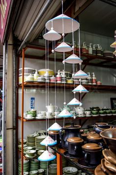 Pottery products on a shop in Bat Trang ancient ceramic village