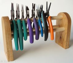 Pliers stand for jewellery makers - English Oak - 12 pairs