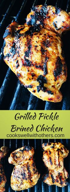 Grilled Pickled Brined Chicken Grilled Pickle Brined Chicken has a delicous and unique flavor, it's very juicy because of the pickle brine and easy to make! Grilled Salmon Recipes, Grilled Meat, Pork Recipes, Cooking Recipes, Healthy Recipes, Grilled Shrimp, Tilapia Recipes, Cooking Tips, Gastronomia
