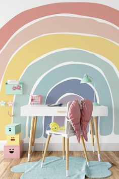 Kindergarten Wallpaper, Rainbow Bedroom, Rainbow Room Kids, Rainbow Girls Rooms, Rainbow Wallpaper, Nursery Wallpaper, Wallpaper For Kids Room, Kids Room Design, Little Girl Rooms