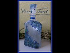 Fles decoreren met servet en rijstpapier - YouTube Vodka Bottle, Decoupage, Tutorials, Youtube, Diy, Decorated Bottles, Madness, Bricolage, Diys