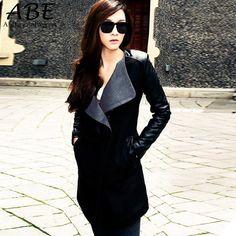 2016 New Winter 3 Colors Wool Blend Coat Womens Lady Long Warm Leather Sleeve Trench Coat Windbreaker