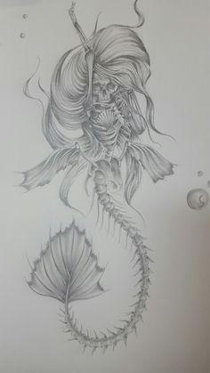 Skeleton mermaid Drawn by Chris dejesus