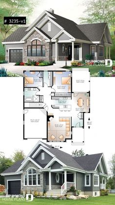Ranch Bungalow house plan, with galley kitchen, open floor plan concept, garage, many foundation options Style Architectural Garage House Plans, House Plans One Story, Ranch House Plans, Craftsman House Plans, Small House Plans, Craftsman Ranch, Floor Plans For Houses, House With Garage, Victorian Architecture