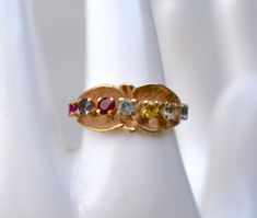 Real Gold Jewelry, Gemstone Jewelry, White Topaz, Blue Topaz, Vintage Brooches, Vintage Rings, Etsy Vintage, Vintage Items, Unique Vintage