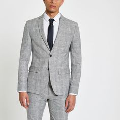 Shop our new Light grey check skinny fit suit jacket at River Island today. Grey Jacket Black Pants, Suit Jacket, New Mens Suits, Mens Fashion Suits, Light Grey Suit Men, Grey Check Suit, Gray Groomsmen Suits, Grey Suit Wedding, Green Wedding