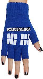 Doctor Who Fingerless Tardis Gloves - http://www.thlog.com/doctor-who-fingerless-tardis-gloves/