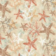 Seashore Fabric by the Yard | Seaside Garden Starfish Stamped Fabric by Susan Winget