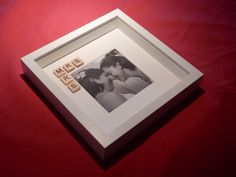 Mrs and Mrs Scrabble Art Photo Picture Frame. by AbStyleArt