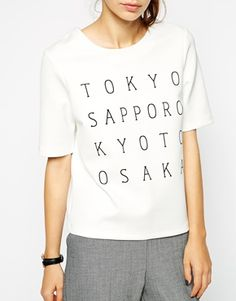 Enlarge ASOS Top in Smart Fabric with Japanese City Print  -pair with black rolled up skinnies and chelsea boots with wingtip detail and simple watch leather strap  (could add enamel hair pins, optional)