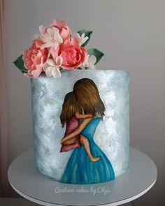 Mother's day - cake by Couture cakes by Olga Elegant Birthday Cakes, Happy Birthday Cakes, Mother Birthday Cake, Mothers Day Cakes Designs, Hand Painted Cakes, Cake Day, Couture Cakes, Cake Pictures, Themed Cakes