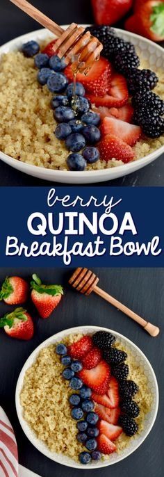 This Quinoa Breakfast Recipe is a simple easy and healthy breakfast with only three ingredients. It comes together in about 20 minutes and can be made ahead for an easy grab and go breakfast in the morning.