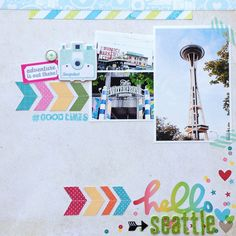 hello Seattle - Scrapbook.com - Layer mini photos with a larger focal photo on a travel layout to include more sights on one page.