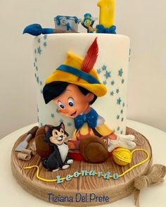 Disney Themed Cakes, Disney Cakes, Crazy Cakes, Fondant Cakes, Cupcake Cakes, Hobbit Cake, Beautiful Birthday Cakes, Baby Birthday Cakes, Pinocchio