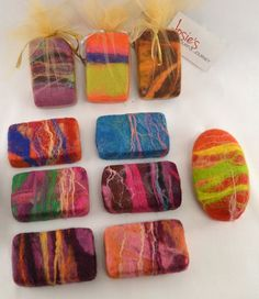 Colourful felted soaps, 2 bars, shea butter based with merino wool, scented Colourful felted soaps 2 bars shea butter by JosiesColourfulArt Felted Soap, Wet Felting, Needle Felting, Felt Crafts, Fabric Crafts, Dish Display, Soap On A Rope, Felting Tutorials, Soap Packaging