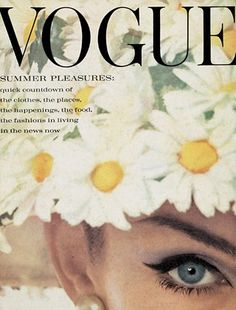 """June 1962  Featuring Jean Shrimpton on the cover for the first time, this issue promises us""""the prettiest season ever"""". """"What's an English summer?"""" asks the editor. """"Well among other things it's hot, still days and grasshoppers and the smell of suntanned skin, the ping of tennis balls and warm, crushed grass, the sweet prickle of strawberries, the gaudy stripe of awning and cricket club blazers, and the honky-tonk of summer fairs"""