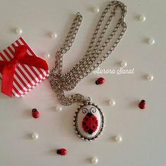 Cross stitch necklace  Necklace  Ladybugchristmas by AuroraSanat