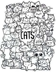 Cute doodle art doodles ideas sharpie drawings doddle adult coloring pages drawing doodling and my first Cute Doodle Art, Cat Doodle, Doodle Art Drawing, Cat Drawing, Cute Art, Doodle Art Letters, Doodle Coloring, Colouring Pages, Adult Coloring Pages