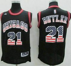 28f5cd56f Chicago Bulls Jersey 21 Jimmy Butler Revolution 30 Swingman 2014 USA Flag  Fashion Black Jerseys Throwback