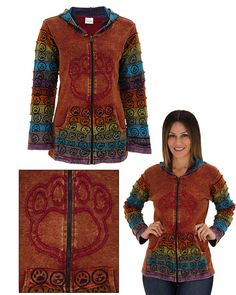 Center Stage Embroidered Paw Print Hooded Jacket