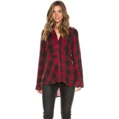 Lost Sea Gypsies Coney Plaid Shirt (56 AUD) ❤ liked on Polyvore featuring tops, burgundy, flat top, plaid shirt, burgundy plaid shirt, cotton plaid shirt and gypsy shirt