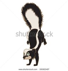 Vector image of a Cartoon smiling Skunk - stock vector