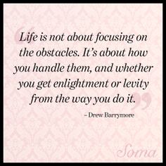"""Life is not about focusing on the obstacles. It's about how you handle them, and whether you get enlightenment or levity from the way you do it."" - Drew Barrymore #quote"