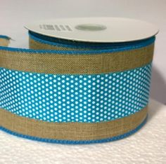 Canvas Ribbon with Small Polka Dot Center Stripe 7 Color's