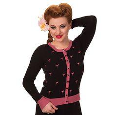 Banned Damen Rockabilly Strickjacke bestickter Flamingo - Golden Touch Retro Cardigan bis 4XL Schwarz (S)
