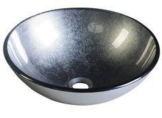SKIN skleněné umyvadlo průměr 42cm, metalická šedá, Umyvadla, toalety a dřezy, SAPHO E-shop
