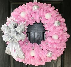BIG SALE - Pretty in Pink and Silver Winter Holiday Deco Mesh Wreath on Etsy, $65.00