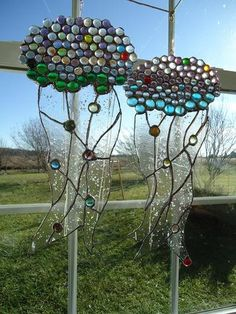 Stained Glass Jellyfish Nuggets Sea Ocean Suncatcher Tiffany Style