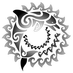 Maori Sun n Dolphin Tattoo Pattern   Tattoobite.com