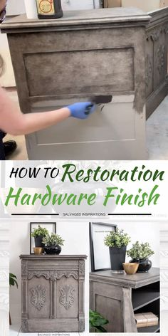 Hi thanks for joining me! I'm excited to share today's makeover with you. This dated sewing cabinet has been reloved into a DIY Restoration Hardware Greige Finish using only TWO paint colors. And the best part — YOU control how light or dark you Diy Furniture Plans, Diy Furniture Projects, Refurbished Furniture, Farmhouse Furniture, Repurposed Furniture, Furniture Decor, Furniture Design, Dresser Furniture, Diy Grey Furniture