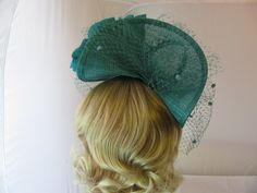Elegant Teal/Dark Turquoise Sinamay Clam Disc hat with veiling , Large silk poppy set on Head band Fascinator .Ideal For Wedding,races ,Ascot ,Ladies day or Any Special Occasion.: Amazon.co.uk: Clothing