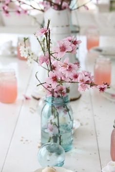 Blue mason jars & cherry blossoms.