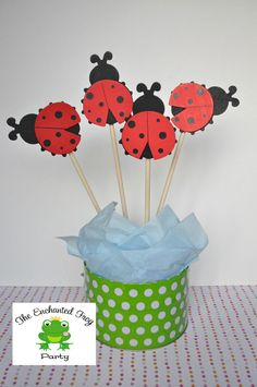 4 Piece Ladybug Party Centerpiece Embellishment Ladybug Baby Shower Ladybug Birthday Birthday. $9.00, via Etsy.