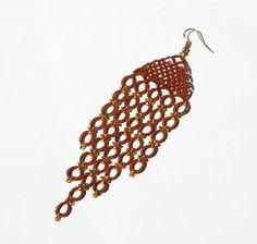Long Fiber Earrings Frivolity Lace Beaded Jewelry by DASHARTSTUDIO