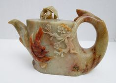 """ganymedesrocks: """" andrusmagnus: """"Soapstone Teapot Qing Dynasty China """" Early Morning Delight… Enjoy a Great Day! Tea Art, Prunus, Soapstone, Qing Dynasty, Teapots, Chinese, Carving, Bird, Antiques"""