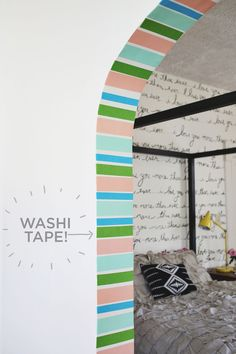 Stripe Doorway (done with washi tape!) www.abeautifulmess.com