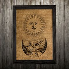 Occult print. Magic poster. Esoteric decor. Burlap print.  PLEASE NOTE: this is not actual burlap, this is an art print, the image is printed on art
