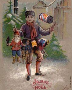 BOY sells CHRISTMAS GIFTS SANTA as JUMPING JACK 1934 RARE CARD !!! (09/08/2013)