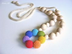 Simple rainbow nursing necklace multicolor teething by NatkaLV