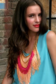 Summer Peach fringe necklace by lazysundaysshop on Etsy. $55.00, via Etsy.