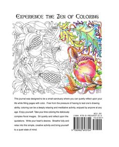 Coloring Journal -A Tangle of Flowers - Complex designs for adults to color. $22.00, via Etsy.