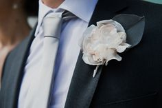 Fabric flower boutonniere. Photo by KGOOD Photo.